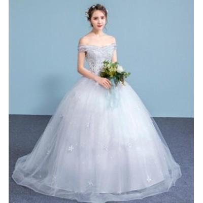 腰高め Aライン オフショルダー ビスチェ ウェディングドレス ドレス パーティー 結婚 ベアトップ ロング 安い 花嫁