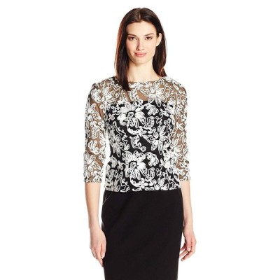 Alex Evenings Women's Embroidered Blouse Shirt (Missy and Petite), Bla