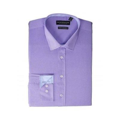 Nick Graham ニックグラハム メンズ 男性用 ファッション ボタンシャツ Texture Weave Stretch Dress Shirt - Purple