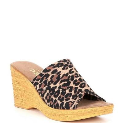 オネックス レディース サンダル シューズ Christina Elastic Leopard Wedge Sandals