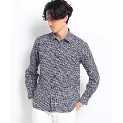 TAKEO KIKUCHI(タケオキクチ) ◆【大きいサイズ】フラワーギンガムプリントシャツ