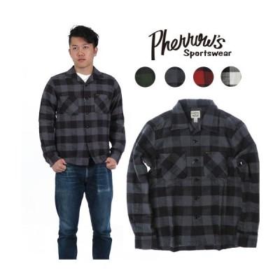 送料無料 フェローズ Pherrow's 長袖 コットン オープンシャツ ライトネル ブロックチェック チェックシャツ 17w-pols1