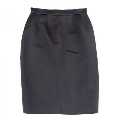 シャネル 08A シルクタイトスカート バックジップ ココマーク レディース 36 黒 美品 CHANEL【F2-11631】