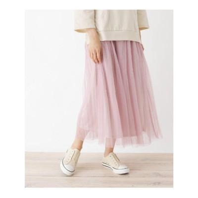 キューティーブロンド Cutie Blonde 【M-L】チュールプリーツマキシスカート (ピンク)