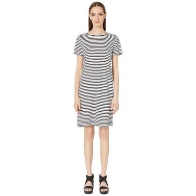 エイリーンフィッシャー レディース ワンピース トップス Organic Linen Jersey Stripe Round Neck Dress