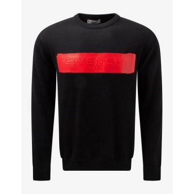 ジバンシー Givenchy メンズ ニット・セーター トップス Black Latex Logo Wool Sweater Black