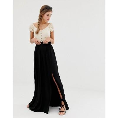エイソス ASOS DESIGN レディース ロング・マキシ丈スカート スカート maxi skirt with shirred waist in black ブラック