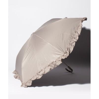 【ピンクトリック】 完全遮光 晴雨兼用 3段折りたたみ傘 フリル 遮光率100% 遮蔽率99.9% 1級遮光 遮熱 軽量 UVカットアイスグレージュ×フリル レディース アイスグレージュ F pink trick