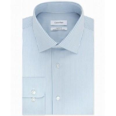 Calvin Klein カルバンクライン ファッション ドレス Calvin Klein NEW Blue Mens Size 17 1/2 Striped Regular Fit Dress Shirt