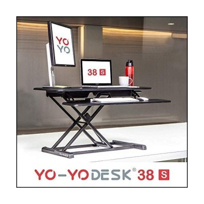 """Yo-Yo DESK 38-S Slim (38"""" Black). Converts Any Desk to a Standing Desk Height Adjustable Standing Desk 