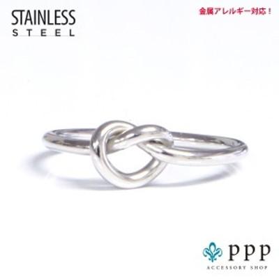 ステンレス リング(74)結び 銀色(メイン) ノットリング サージカルステンレス製 指輪 316L メンズ レディース シルバー 送料無料 アク