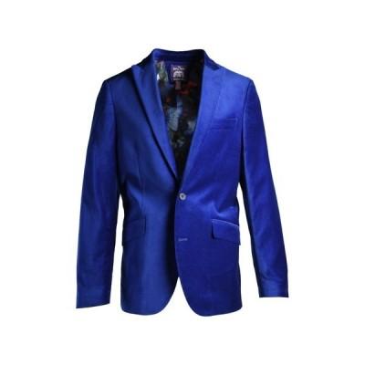 サヴィル ロウ カンパニー メンズ ジャケット&ブルゾン アウター Cobalt Blue Peak Lapel Slim Fit Velvet Blazer COBALT BLUE