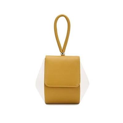 Charming Tailor Small PU Flap Handbag for Women Wristlet Clutch Single Handle Purse (Mustard/Cream)【並行輸入品】