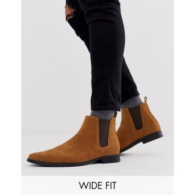 エイソス ASOS DESIGN メンズ ブーツ チェルシーブーツ シューズ・靴 Wide Fit chelsea boots in tan faux suede タン