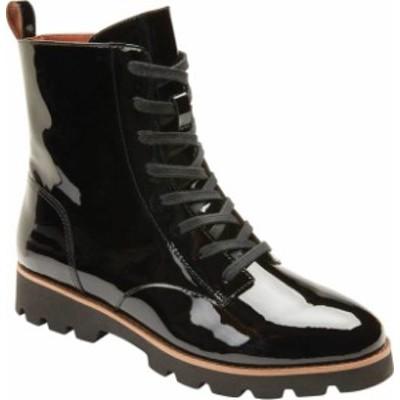 バイオニック レディース ブーツ・レインブーツ シューズ Women's Vionic Lani Lace Up Ankle Boot Black Patent Leather