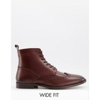 エイソス メンズ ブーツ・レインブーツ シューズ ASOS DESIGN Wide Fit brogue boots in brown leather with black sole Brown