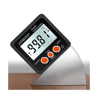AUTOUTLET デジタル角度計 アングルメーター レベルボックス 水平器 LCDバックライト付き 強力磁石付き 4 x 90° 防?