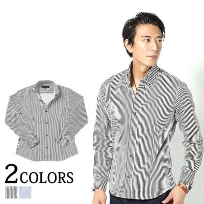 シャツ メンズ トップス 長袖 ストライプ ボタンダウン スリム 細身 日本製 30代 40代