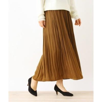 スカート 【手洗いOK】ビンテージサテンプリーツスカート