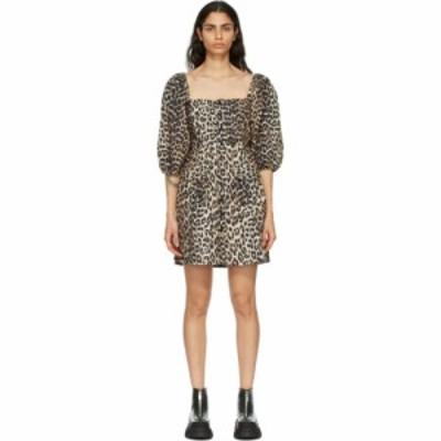 ガニー GANNI レディース ワンピース ミニ丈 ワンピース・ドレス Brown Poplin Leopard Mini Dress Leopard