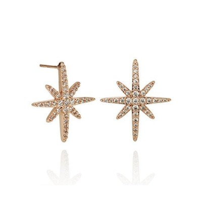 Namana North Star Earrings with Cubic Zirconia. 18 Carat Rose Gold Plated or Fine Silver Colored Lucky Star Traveller Earrings with Gift Box