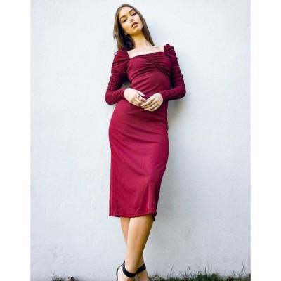 トップショップ Topshop レディース ワンピース ワンピース・ドレス long sleeve dress with ruched waist in burgundy バーガンディ