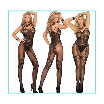 【新品】Sexy Fishnet and Lace Bodystocking Lingerie with Open Crotch (One Size Queen Fits Most, Black)(並行輸入品)