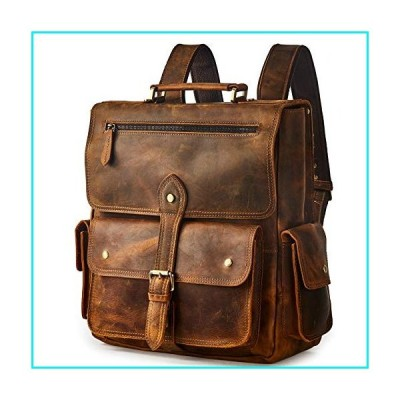 "BRASS TACKS Leathercraft Men's Convertible Crazy Horse Genuine Leather Backpack 14""Laptop Steampunk Vintage Travel Daypack【並行輸入品】"