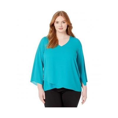 Karen Kane Plus カレンケーン レディース 女性用 ファッション ブラウス Plus Size Slit-Sleeve Asymmetric Top - Teal