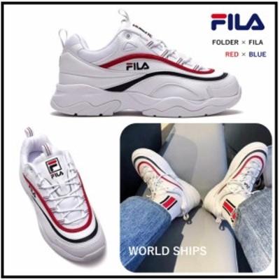 フィラ 厚底スニーカー レディース フィラ レイ 厚底 ダッドスニーカー メンズ FILA RAY FOLDER ホワイトレッド ユニセックス 海外限定正