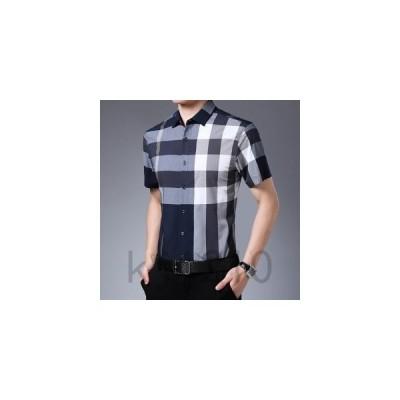 シャツメンズカジュアルシャツワイシャツ半袖トップス折り襟開襟シャツボタン格子柄チェック柄ビジネスフォーマル薄手夏向き着