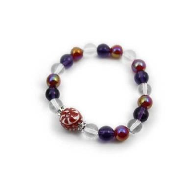 有田焼と天然石のブレスレット(Arvo) 赤たこ唐草紋様水晶アメジストメノウ