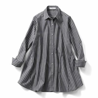 たっぷりフレアーが印象的なAラインシャツチュニック〈ブラックストライプ〉 IEDIT[イディット] フェリシモ FELISSIMO