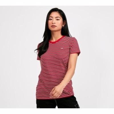 リーバイス Levis レディース Tシャツ トップス the perfect t-shirt Stripe Brilliant Red