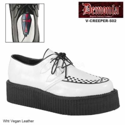 DEMONIA(デモニア) V-CREEPER-502 ラバーソールシューズ 厚底靴 白 ホワイト パンク ロカビリー バンド ライブ メンズ/ユニセックス