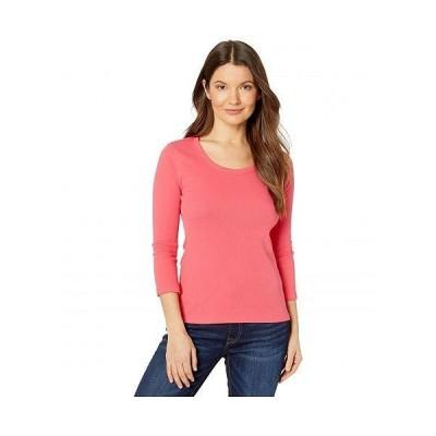 Lilla P リラP レディース 女性用 ファッション Tシャツ 1x1 Rib 3/4 Sleeve Scoop Neck Top - Geranium
