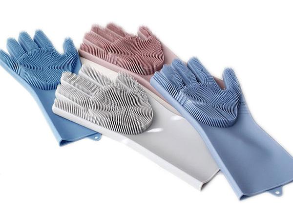 韓版加厚多功能二合一硅膠手套刷(1雙入)【D555404】顏色隨機出貨