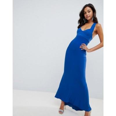 エイソス レディース ワンピース ワンピース・ドレス ASOS DESIGN cupped fishtail maxi dress Blue
