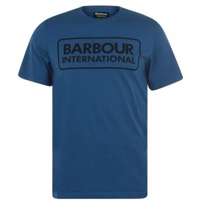 バブアー Barbour International メンズ Tシャツ ロゴTシャツ トップス Essential Logo T Shirt Aqua/Black