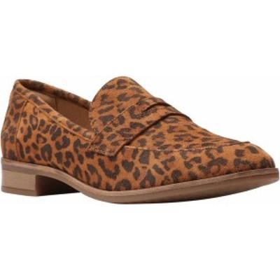 クラークス レディース スリッポン・ローファー シューズ Trish Rose Penny Loafer Dark Tan Leopard Print Suede