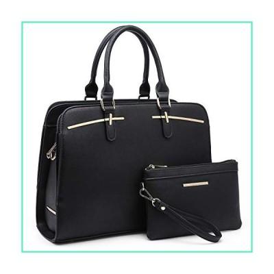 Dasein Women Satchel Handbag Shoulder Purse Top Handle Work Bag Tote Bag With Matching Wallet (Black)並行輸入品
