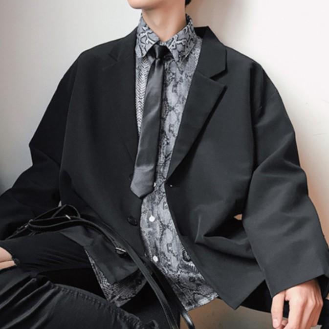 【M世代】西裝外套 男外套 雙排扣簡約外套 韓版潮流西服 休閒寬鬆男士正裝 韓版夾克 男士外套 (HXW31)
