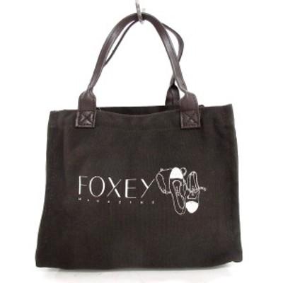 フォクシー FOXEY トートバッグ レディース - ダークブラウン×白×黒 MAGAZINE/ノベルティ キャンバス×合皮【中古】20210617