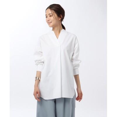 シャツ ブラウス 「L」【洗える・UVカット・接触冷感】エステネージュブロードチュニックシャツ