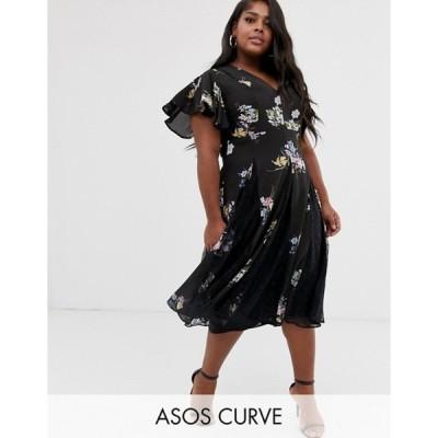 エイソス レディース ワンピース トップス ASOS DESIGN Curve midi dress with godet lace inserts in purple bloom print