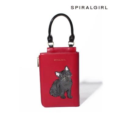 【スパイラルガール(バッグ)】 猫ちゃん刺繍2WAYスタイルミニバッグ レディース レッド FREE SPIRALGIRL