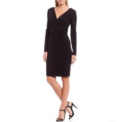 ドレスザポプレーション レディース ワンピース トップス Drew V-Neck Long Sleeve Ruched Waist Stretchy Sheath Dress Black
