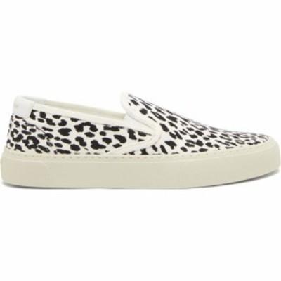 イヴ サンローラン Saint Laurent レディース スリッポン・フラット シューズ・靴 Venice leopard-print canvas slip-on trainers White