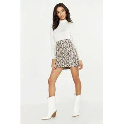 Boohoo レディーススカート Boohoo White Snake Leather Look A Line PU Mini Skirt white