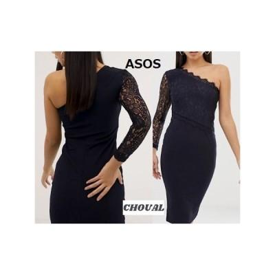 レディース 結婚式 二次会 ドレス ASOS / AX Parisワンショルダーレースボディコンドレス